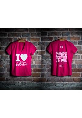 T-shirt femme rose et blanc