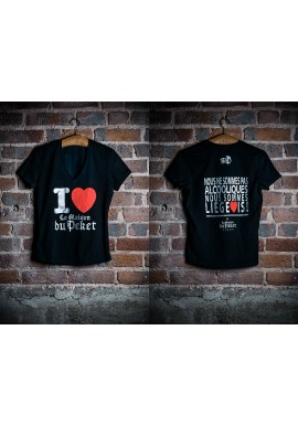 T-shirt femme noir et argenté