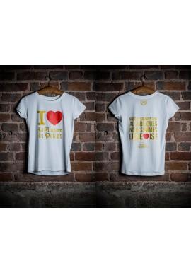 T-shirt femme blanc et doré